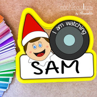 Elf on the Shelf Cam with Banner Cookie Cutter - Periwinkles Cutters LLC