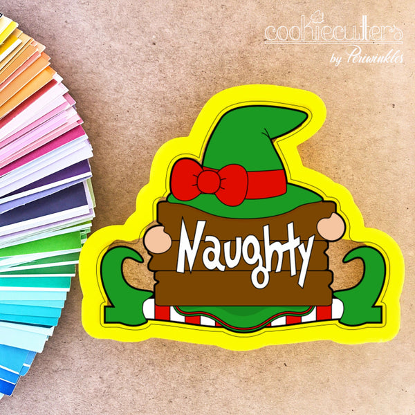 Elf Plaque Cookie Cutter or Witch Plaque Cookie Cutter - Christmas and Halloween Cookie Cutter - Periwinkles Cutters LLC