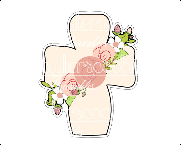 Floral Cross Cookie Cutter - Periwinkles Cutters LLC