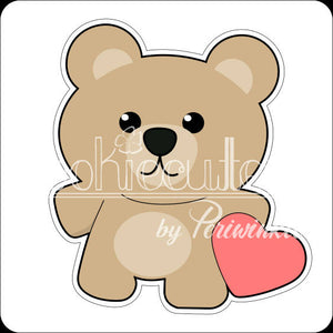 Bear with Stuffed Heart Cookie Cutter - Periwinkles Cutters LLC