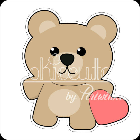Bear with Stuffed Heart Cookie Cutter