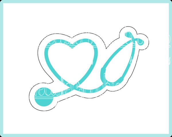 Heart Stethoscope Cookie Cutter - Periwinkles Cutters LLC
