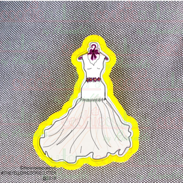 Wedding Dress on a hanger Cookie Cutter - Periwinkles Cutters LLC