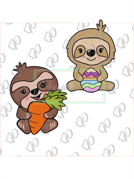 Whimsy Sloth holding a Carrot Cookie Cutter - Periwinkles Cutters LLC