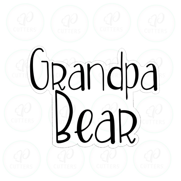 Grandpa Bear Plaque Cookie Cutter - Periwinkles Cutters LLC