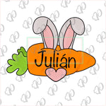 Bunny Ears Carrot Plaque Cookie Cutter - Periwinkles Cutters LLC