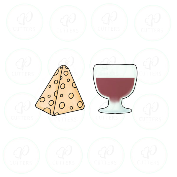 Cheese and Wine Cookie Cutter - We Go Together Like - Periwinkles Cutters LLC