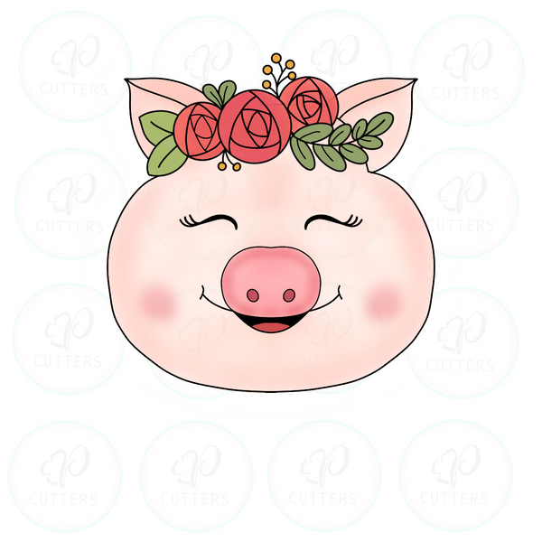 Pig Floral Cookie Cutter - Periwinkles Cutters LLC