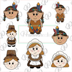 Pilgrim and Native Americans  Girls and Boys Cookie Cutters
