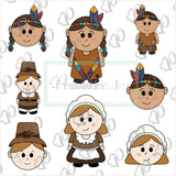 Pilgrim and Native Americans  Girls and Boys Cookie Cutters - Periwinkles Cutters LLC
