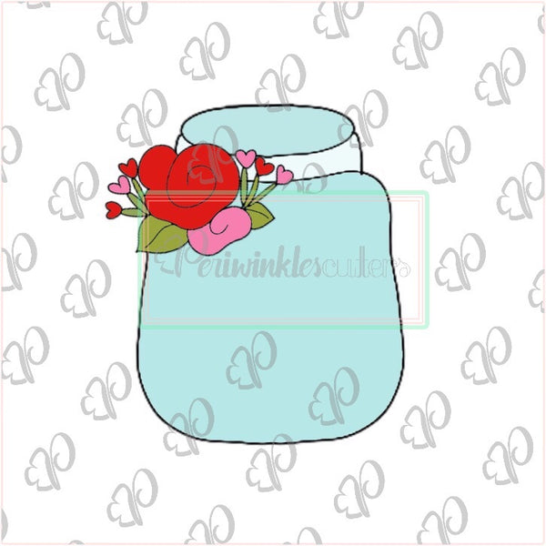 Floral Mason Jar Cookie Cutter