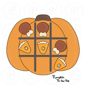 Pumpkin Tic Tac Toe - Candy Corn and Caramel Cookie Cutter - Periwinkles Cookie Cutters
