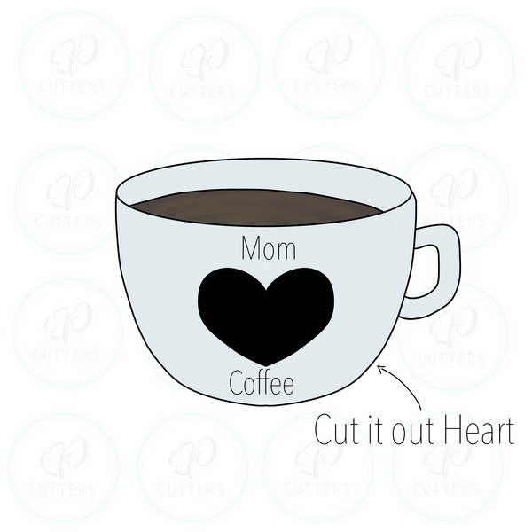 Coffee Cup with Cutout Heart Cookie Cutter - Periwinkles Cutters LLC