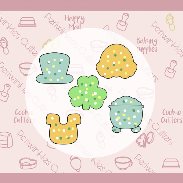 Frosted St. Patrick's Mini Cookie Cutters Set 5 Pieces