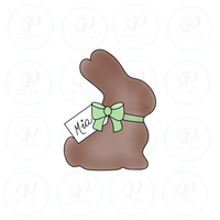Chocolate Bunny with Tag Cookie Cutter - Periwinkles Cutters LLC