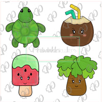 Tropical Summer Mini 4 Cookie Cutter Set - Turtle - Palm tree - Popsicle - Coconut - Periwinkles Cutters LLC