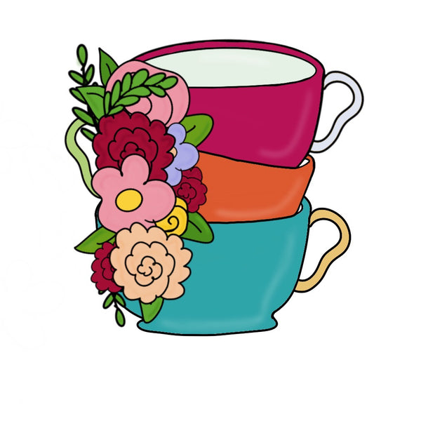 Tea Cup Stack with Flowers Cookie Cutter - Periwinkles Cutters LLC