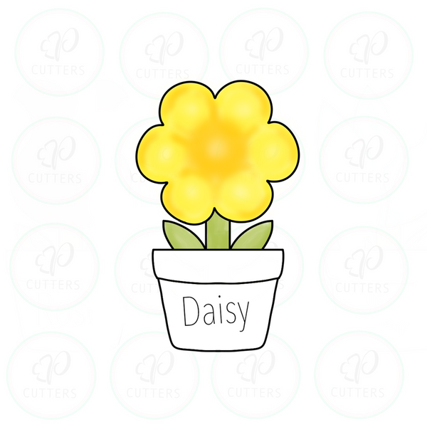 Daisy Flower in a Pot Cutter - Periwinkles Cutters LLC