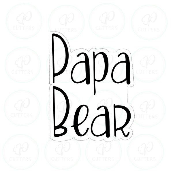 Papa Bear Plaque Cookie Cutter - Periwinkles Cutters LLC