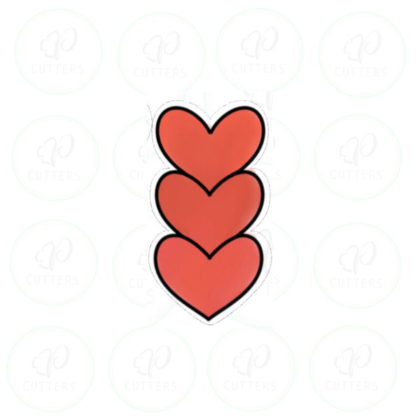 Stack of Hearts ♥️ - Tall Cookie Cutter - Periwinkles Cutters LLC