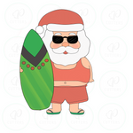 Beach Santa with Surfboard Cookie Cutter - Periwinkles Cutters LLC