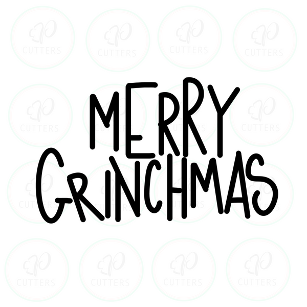Merry Grinchmas Lettering Plaque Cookie Cutter - Periwinkles Cutters LLC
