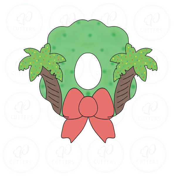 Tropical Christmas Door Wreath Cookie Cutter - Periwinkles Cutters LLC