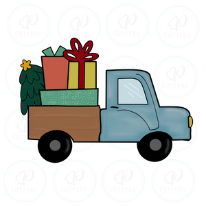 Truck with Gifts and Tree - Christmas Cutter - Periwinkles Cutters LLC