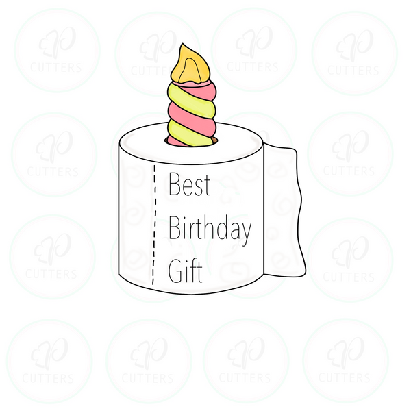 Birthday Candle Toilet Paper Cookie Cutter - Periwinkles Cutters LLC