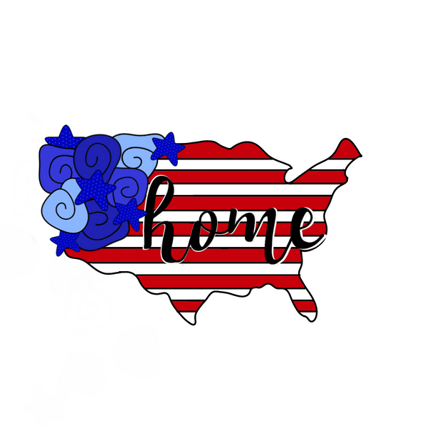 USA Map Flowers Cookie Cutter - 4th of July Cookie Cutter - America Map - Periwinkles Cutters LLC