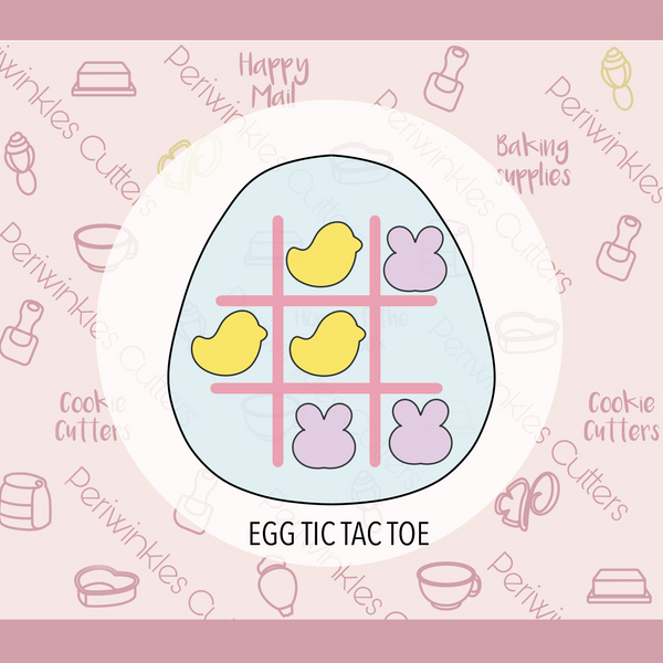 Easter Egg Tic Tac Toe Set Cookie Cutter