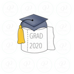 Grad Toilet Paper Cookie Cutter - Periwinkles Cutters LLC