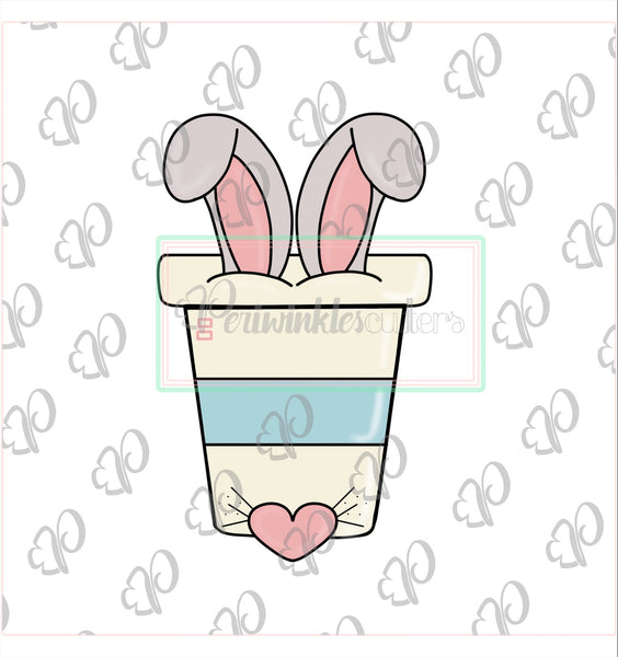 Bunny Coffee Latte Cup Cutter - Design by Sweet Sugar Crumbs - Periwinkles Cutters LLC