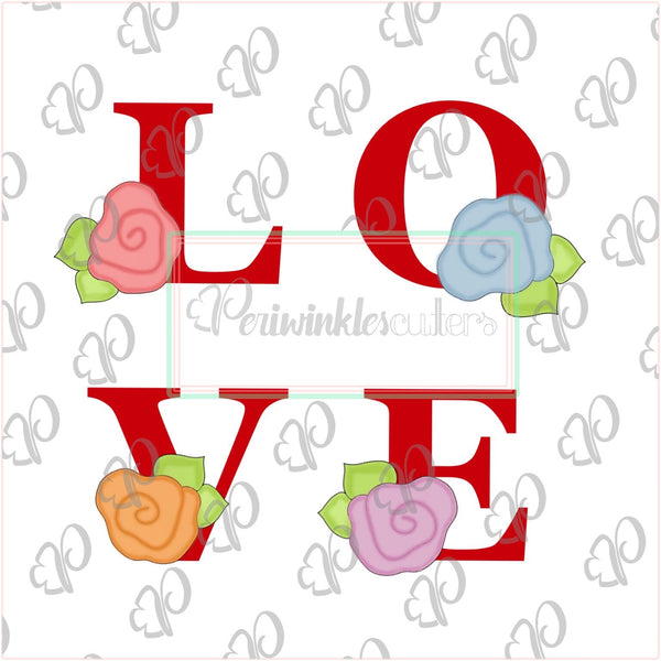 Floral Love Letters Cookie Cutter - Periwinkles Cutters LLC