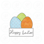 Easter Eggs with Plaque Cookie Cutter - Periwinkles Cutters LLC