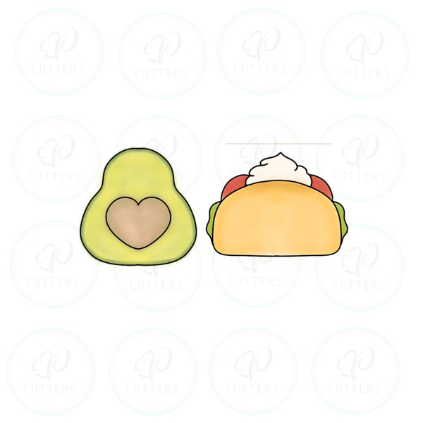 Avocado and Taco Cookie Cutter - We Go Together Like - Periwinkles Cutters LLC