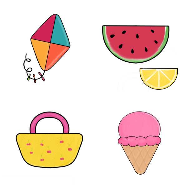 Kids Summer Mini 4 Cookie Cutter Set - Ice Cream - Beach Tote - Kite - Watermelon Slice