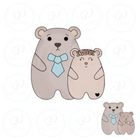 Papa Bear with Child Cookie Cutter - Periwinkles Cutters LLC