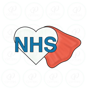 NHS super hero heart ♥️ Cookie Cutter - Periwinkles Cutters LLC