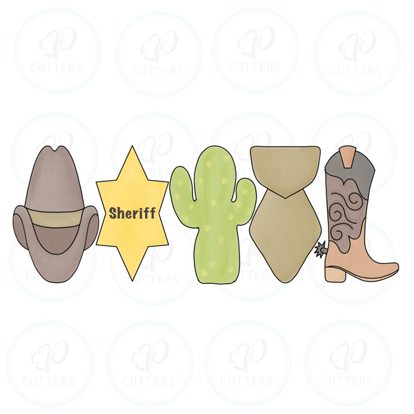 Sheriff Officer Tall Set Cookie Cutter - Periwinkles Cutters LLC