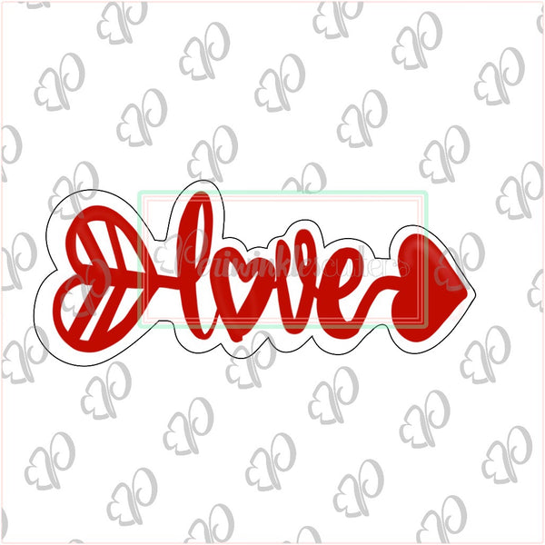 "Love Arrow Cookie Cutter ""Narrow Design"" - Periwinkles Cutters LLC"