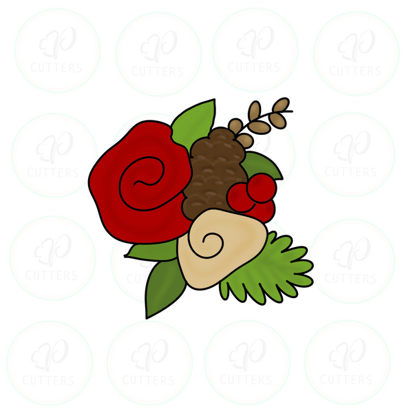 Christmas Floral Cluster 2019 - Christmas Cutter - Periwinkles Cutters LLC