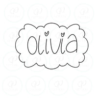 Olivia Plaque Cookie Cutter - Periwinkles Cutters LLC