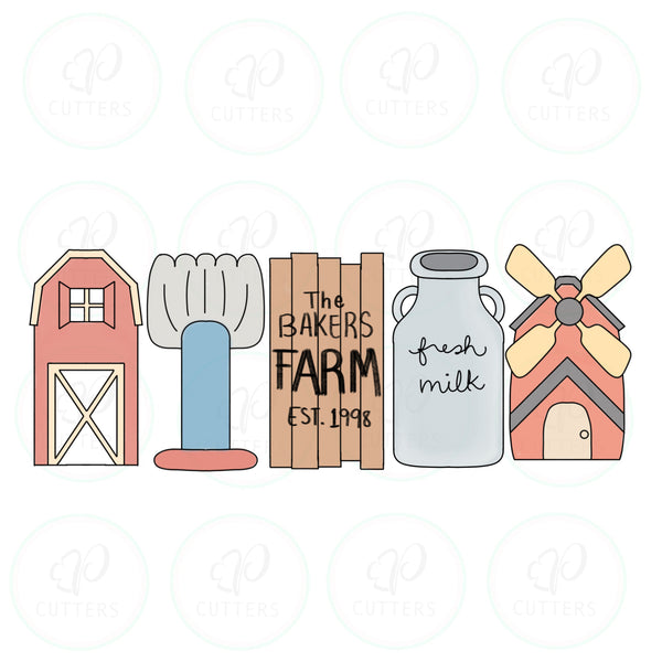 Farm House Tall Set Cookie Cutter - Periwinkles Cutters LLC