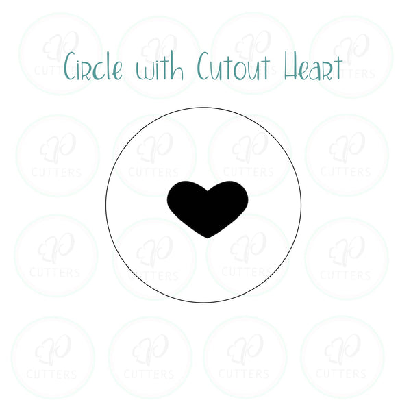 Cutout Heart Circle Cookie Cutter - Periwinkles Cutters LLC