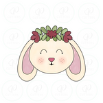 Bunny Face with Floral Crown Cookie Cutter - Periwinkles Cutters LLC