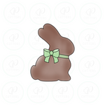 Chocolate Bunny with bow Cookie Cutter - Periwinkles Cutters LLC