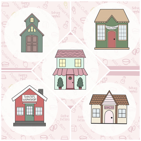 Christmas Villages Cookie Cutter - Individual - Periwinkles Cookie Cutters