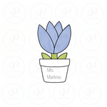 Wild Flower in a Pot Cookie Cutter - Periwinkles Cutters LLC