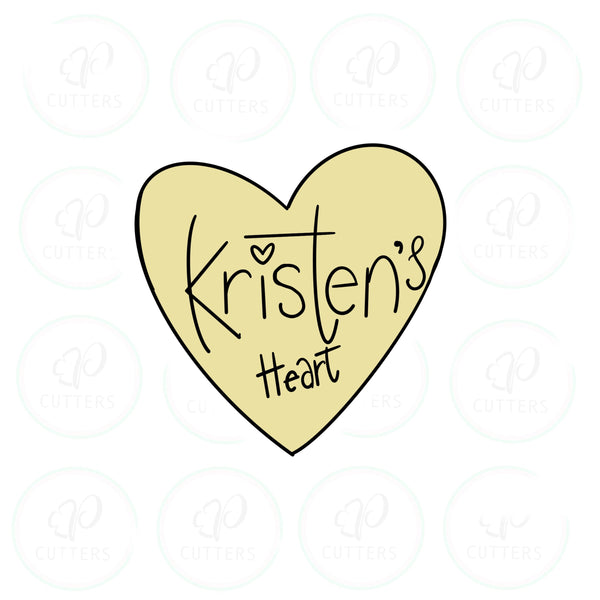 Kristen Heart Plaque Cookie Cutter - Periwinkles Cutters LLC